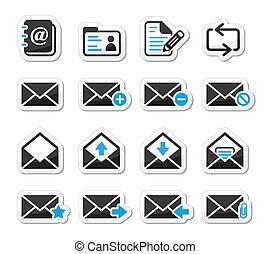 email, buzón, vector, iconos, conjunto