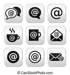 email, café internet, wifi, boutons