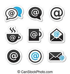 email, café internet, wifi, icônes