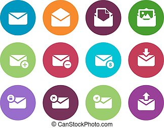 Email circle icons on white background.