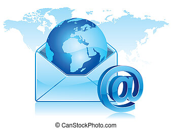 email communication - e-mail icon, global communication