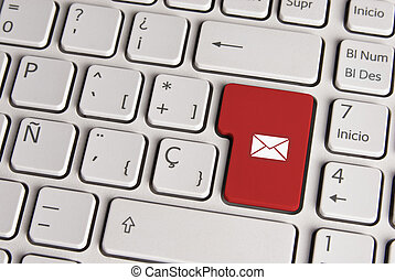 Email concept, mail envelope keyboard key.