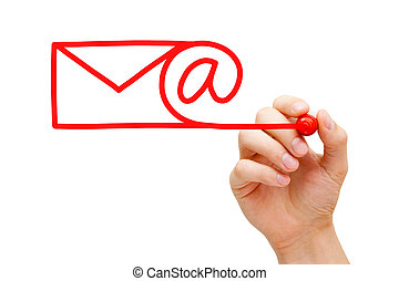 Email Concept - Hand sketching Email Concept with red marker...