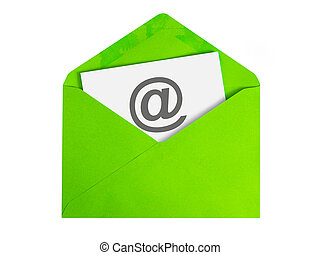 Email concept - Paper sheet with email icon in green...