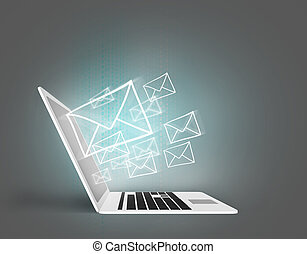 Email concept with laptop