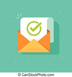 Email confirmation vector illustration, flat cartoon envelope with confirmation letter document, checked and accepted message icon, approved document concept or e-mail checklist