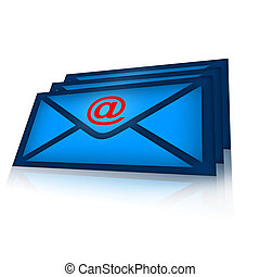 Email Correspondence - Email envelopes illustration over ...