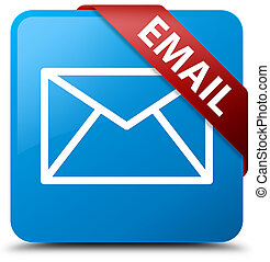 Email cyan blue square button red ribbon in corner