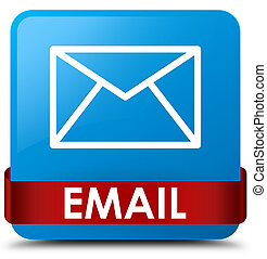 Email cyan blue square button red ribbon in middle