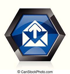 Email dark blue glossy hexagon geometric diamond vector web icon with reflection on white background. Modern design hexagonal internet button.