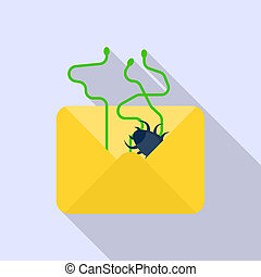 Email data spam icon, flat style