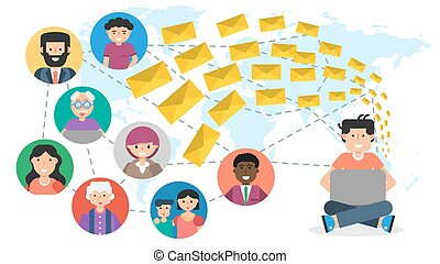 Vector horizontal banner. Concept of blogging, chatting, communication in social networks and spam mailing. Man with computer sends many email to different users connected by internet in flat style