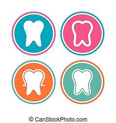 email, dental, icons., zahnschutz, signs., sorgfalt