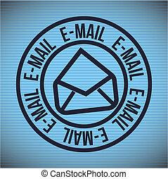 Email design over blue background, vector illustration