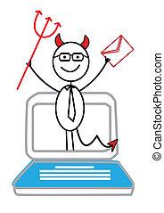 email, diabo, vermelho, caderno