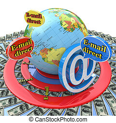 Email direct marketing. Communication concept
