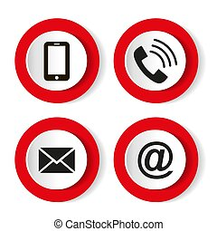 email, ensemble, mobile, enveloppe, -, icons., contact, boutons, vecteur, illustration, téléphone