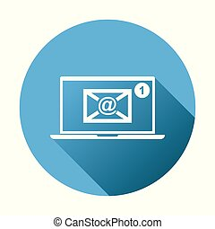 Email envelope message on laptop. Vector illustration in flat style on blue round background.