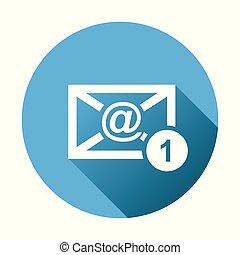 Email envelope message. Vector illustration in flat style on round blue background.