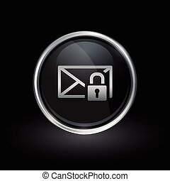 Email envelope padlock icon inside round silver and black emblem