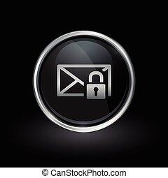 Email envelope padlock icon inside round silver and black emblem