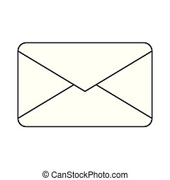 Email envelope symbol in black and white