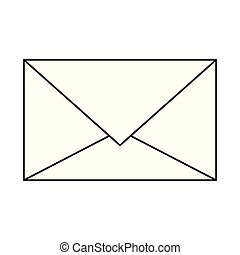 Email envelope symbol isolated cartoon in black and white