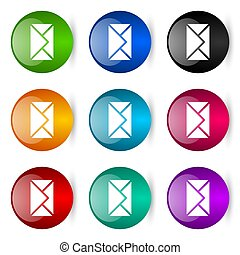 Email, envelope vector icons, set of colorful glossy 3d rendering ball buttons in 9 color options