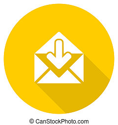 email flat design yellow web icon