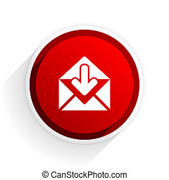 email flat icon with shadow on white background, red modern design web element