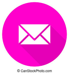 email flat pink icon