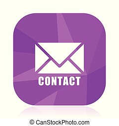 Email flat vector icon. Contact violet web button. Letter internet square sign. Post message modern design symbol in eps 10.
