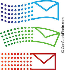 Email flying icons in three variations