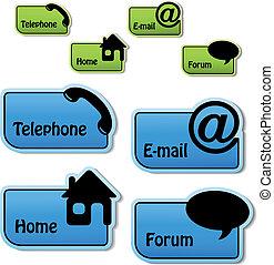email, foro, -, vettore, telefono, bandiere, casa