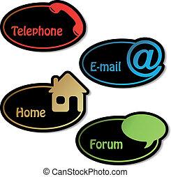 email, forum, -, vecteur, téléphone, bannières, maison