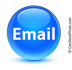 Email glassy cyan blue round button