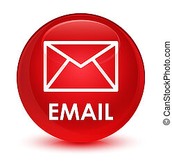 Email glassy red round button
