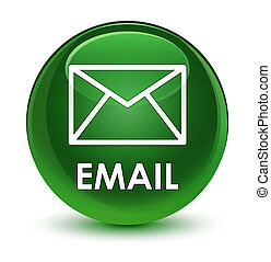 Email glassy soft green round button