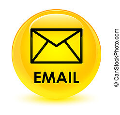 Email glassy yellow round button