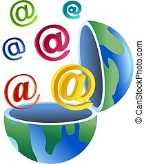 email globe - An open globe with colourful email symbols...