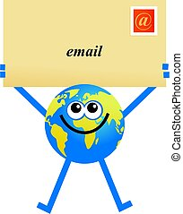 email globe - conceptual globe cartoon character holding...