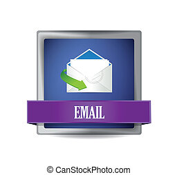 Email glossy blue button illustration