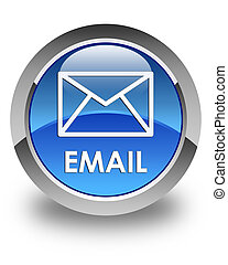 Email glossy blue round button