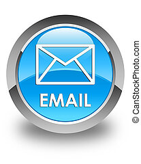 Email glossy cyan blue round button