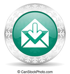 email green icon, christmas button, post message sign