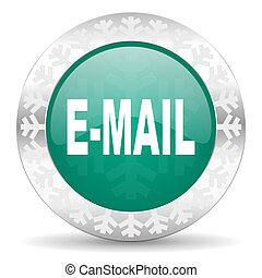 email green icon, christmas button