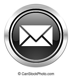 email icon, black chrome button, post sign