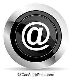 email icon, black chrome button