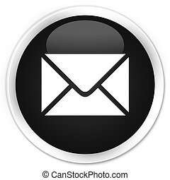 Email icon black glossy round button