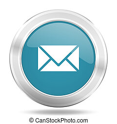 email icon, blue round glossy metallic button, web and mobile app design illustration
